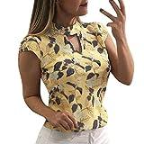 Yvelands Moda Mujer de Impresión de Manga Casquillo Tops Verano Camisa Casual Elegante Camisetas Vintage Blusa Caliente(Amarillo,L)