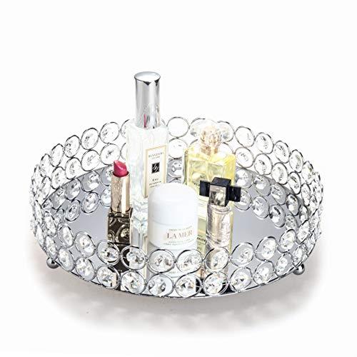 Feyarl Bandeja de perfume de plata con cuentas de cristal cosméticas redonda bandeja organizador de joyas bandeja de tocador con espejo decorativo para el hogar Perfume cuidado de la piel