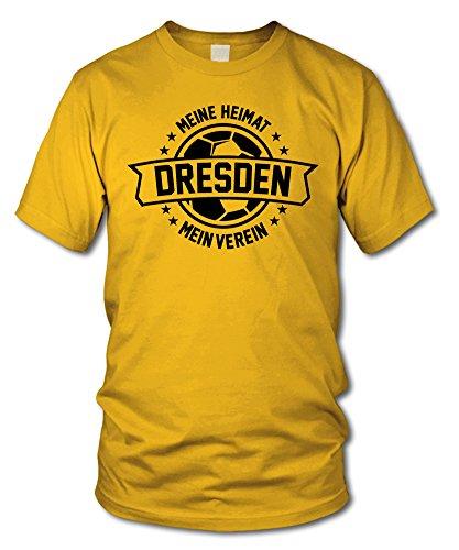 shirtloge - Dresden - Meine Heimat, Mein Verein - Fan T-Shirt - Gelb - Größe L