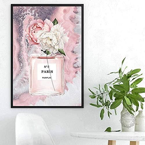 Lienzo arte de pared moderno flor de moda botella de Perfume pintura citas ágata póster impresión imágenes decoración del hogar