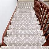 Liveinu Moderner Stil Selbstklebend Stufenmatten Treppen Teppich Halbrund Waschbar Starke Befestigung Anthrazit Treppen-Matten 24x75cm (15 Stück) Beige