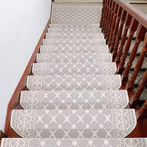 Liveinu Moderner Stil Selbstklebend Stufenmatten Treppen Teppich Halbrund Waschbar Starke Befestigung Anthrazit Treppen-Matten 24x65cm (15 Stück) Beige