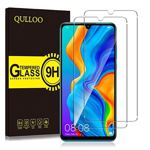 QULLOO Panzerglas für Huawei P30 lite New Edition, 9H Panzerglas Schutzfolie HD Bildschirmschutzfolie Handy Panzerglasfolie für Huawei P30 Lite / P30 Lite New Edition