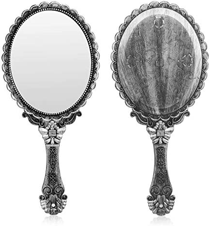 YUSONG Vintage Handheld Mirror Small Hand Held Decorative Mirrors for Face Makeup Embossed Flower product image