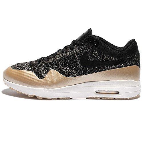 Nike Da Donna Air Max 1 Ultra 2.0 FK Metallico In Esecuzione Formatori 881195 Scarpe Da Ginnastica Scarpe, Nero (Nero Nero Mtlc Oro Stella Opale Piatto), 38.5 EU