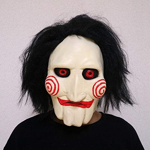 XWYWP Máscara de Halloween Jigsaw Marionetas Máscaras de Látex Espeluznante Máscara Completa de Miedo Prop Unisex Fiesta Cosplay Suministros Shorthair