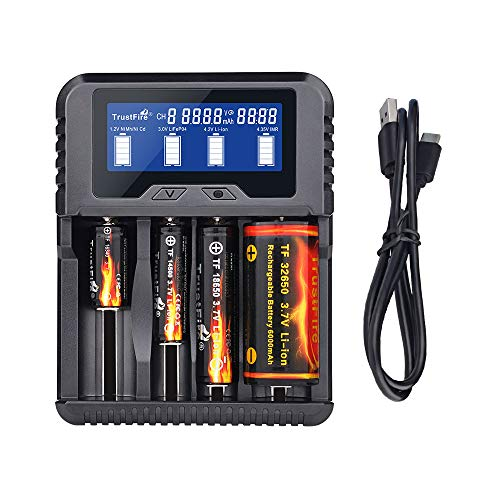 TrustFire TR020 18650 Battery Charger LCD Display Smart Charger Four Charging Port Type-C USB Port...