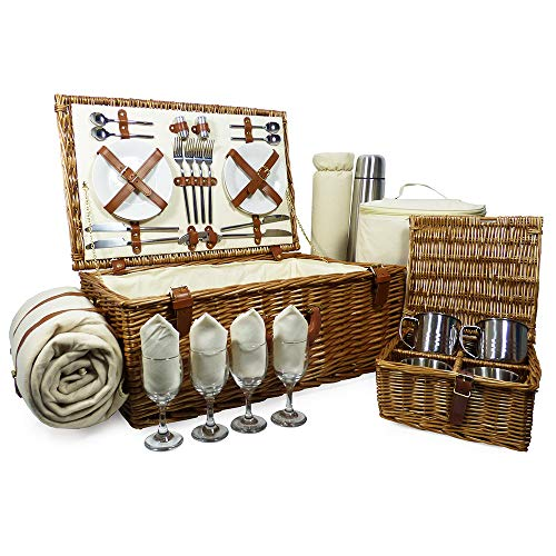 Fine Food Store Sandringham 4 Person Wicker Picnic Basket with Accessories Ideal as Wedding/Birthday For Wife