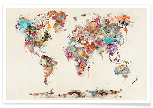 Juniqe® Posters 20x30cm World Maps - Design World Map Watercolor (Format: Landscape) - Pictures, Art prints & Prints by independent artists - Artistic world & country maps - Designed by Brian Buckley