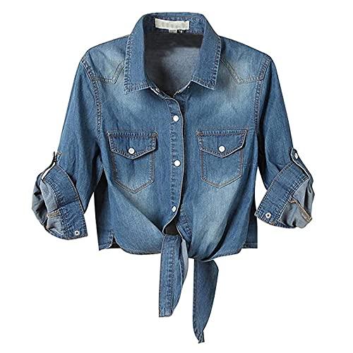 Liquidación Venta SHOBDW Vaquero Camisas Mujer Moda Suelto Corbata Botones Chaqueta de Mujer Tops Suelto Casual Otoño Talla Grande Blusas Tops(Azul2,XL)
