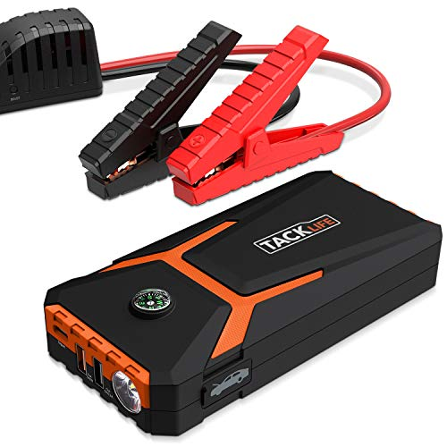 TACKLIFE T8 Mix Car Jump Starter - 500A 10800mAh (Up to 4.5L Gas), 12V Auto Battery Booster, Portable Power Pack with Type-C Input, Dual USB Quick Charge, LED Flashlight & Compass