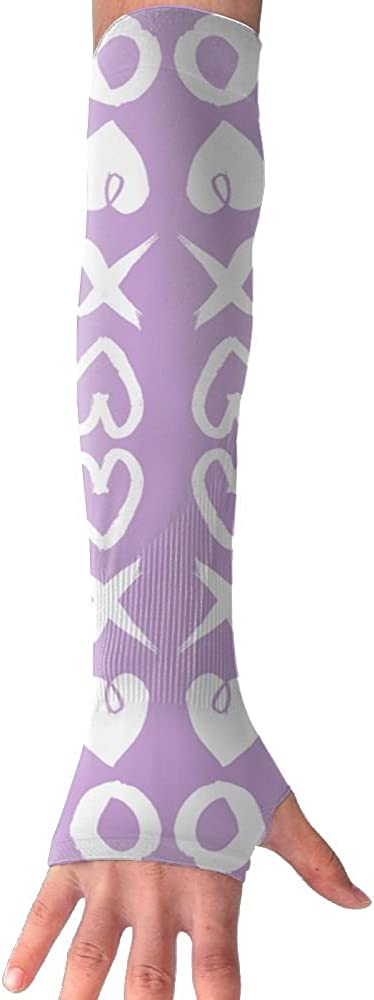Hearts Purple Womens Super Long Fingerless Anti-uv Sun Protection Golf Driving Sports Arm Sun Sleeves Gloves