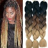 Cybelleza 3 piezas / 300 g Extensiones de cabello trenzado de 24 '' Jumbo Braids Sintético Kanekalon Crochet Hair Afro Box Trenza resistente al calor (Negro&Marrón oscuro&Marrón claro)
