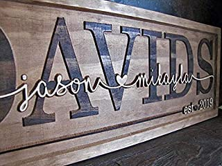3d Personalized wedding gift The FAMILY Name Signs CARVED Custom Wood Sign Last name Rustic Wedding Gift Established gift for couple personalized sign Custom Carve Cursive Housewarming Gift