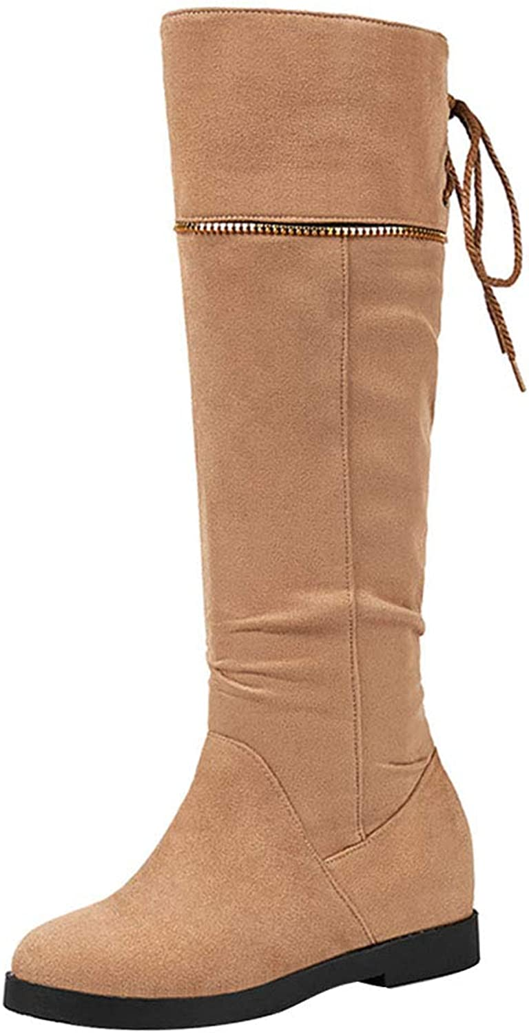 AicciAizzi Women Round Toe Knee Boots Pull On