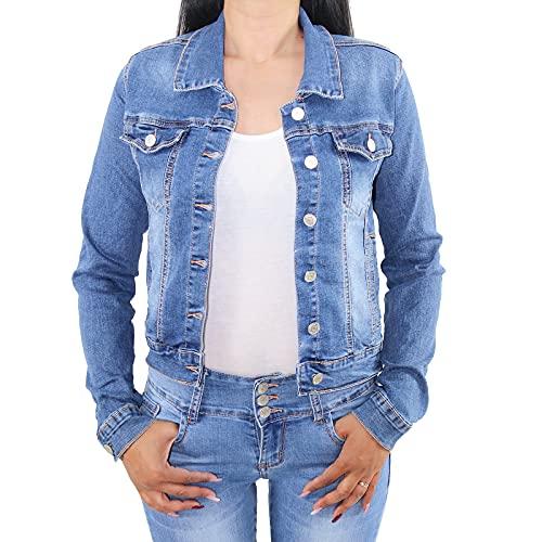 Sotala Chaqueta vaquera corta para mujer, chaqueta vaquera, elástica, chaqueta de entretiempo, azul vaquero azul 42
