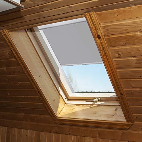 Aufun Dachfenster Rollo Verdunkelungsrollo Thermo Sonnenschutz für DKL GHL GGL GGU GPL GTL GXL Thermoschutz, passend für velux Fenstersysteme, Grau, P08/408