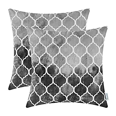 CaliTime Pack of 2 Cozy Throw Pillow Cases Covers for Couch Bed Sofa Manual Hand Painted Colorful Geometric Trellis Chain Print 18 X 18 Inches Main Gray Grey Carbon