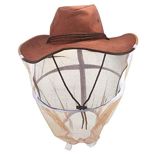 Xigeapg Cappello da Apicoltore Professionale Apicoltore Cappello da Cowboy Anti Bee Net Cappello Full Face Neck Wrap Protector