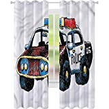 Cortina de ventana de policía Sketchy coche de policía W52 x L84 cortinas para sala de estar