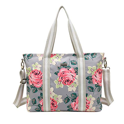 KAYOND Laptop Shoulder Bag, Nylons Multifunctional Work Travel Shopping Duffel Carrying Shoulder Handbag Compatible (17.3 inch, Grey)