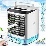 Mini Luftkühler, Tragber Mobile Klimageräte, 4 in 1 Mini Air Cooler,Luftbefeuchter,Luftreiniger,USB Ventilator mit Fernbedienung, 3 Kühlstufen mit LED Nachtlicht für zu Hause, Büro, Auto, im Freien