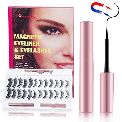 Magnetic Eyelashes&Eyeliner Kit: 12 Pairs Reusable Magnetic Lashes Set with 2 Tubes Magnetic Eyeliner Natural Vivid Eyelashes No Need Glue Eyelashes& Eyeliner Kit with Tweezer {Expires 08/01} (47% off) - $9.99
