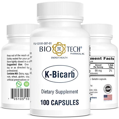 Bio-Tech Pharmacal Potassium Dietary Supplement (K-Bicarb, 100 Count)