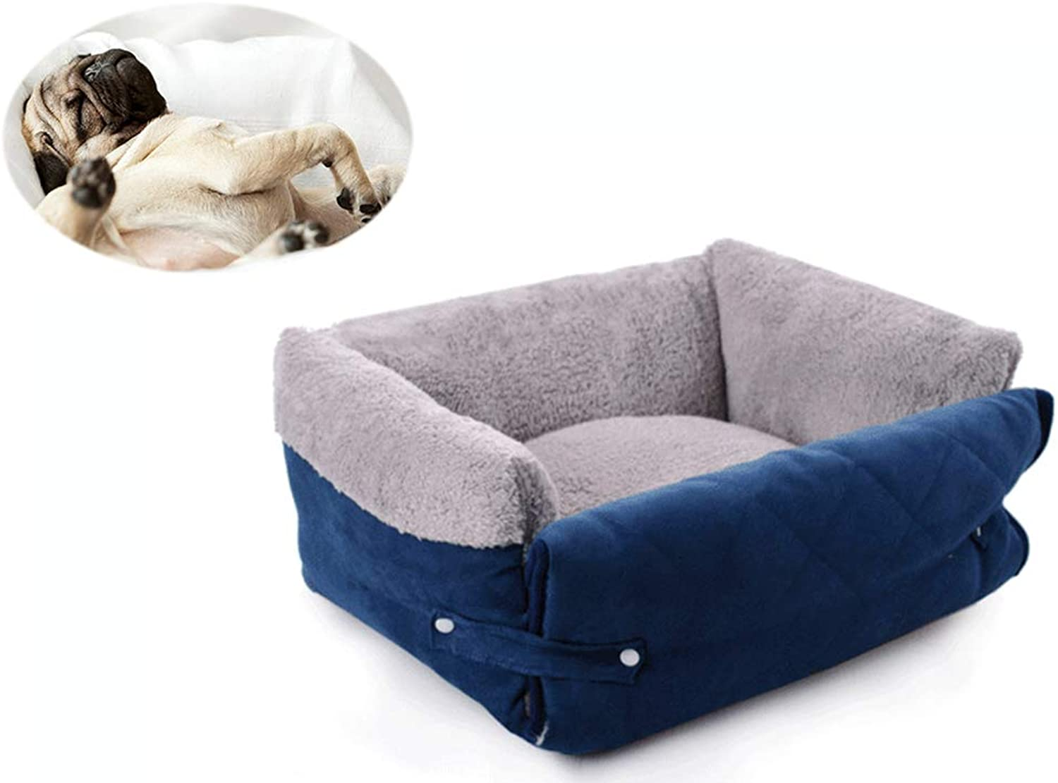 GKBMSP Dog bed Plush Soft Comfortable Round Dog Bed Removable Cleanable Multifunction Suede + PP cotton padding + nonslip oxford cloth Suitable for small and medium dogs Pet Bed