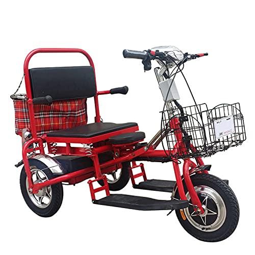 JHKGY Scooter Eléctrico Plegable De Movilidad,Triciclo Eléctrico,Scooters De Viaje Eléctricos Portátiles Ligeros De 3 Ruedas - para Viajes, Adultos, Ancianos - Soporta 150 Kg De Peso Solamente,Rojo