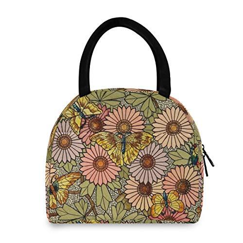LORONA Bolsa de almuerzo con diseño de flores y mariposas, con mosaico, portátil, aislante, para el almuerzo, para la escuela, el trabajo, la oficina, uso al aire libre, picnic