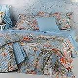 Copriletto Trapuntato Matrimoniale Mirabello Rose di Siepe-Azzurro