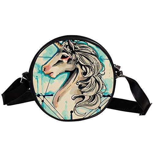 Bandolera redonda pequeña bolso de mano para mujer, bolso de hombro de moda, bolso de mensajero de lona, bolsa de cintura, accesorios para mujer, unicornio beige