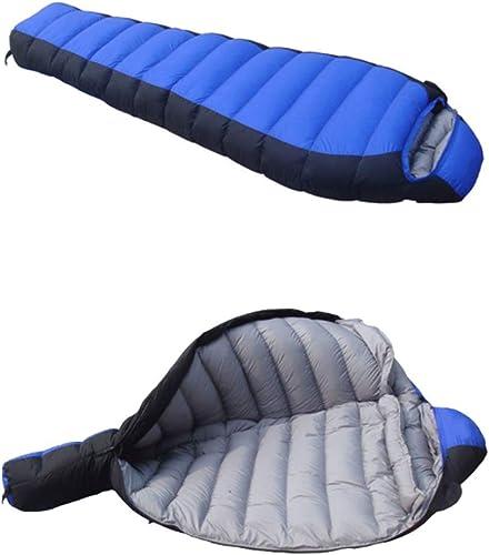 GBX Sac de couchage momie pour adultes, hiver, sacs de couchage pour camping, sacs de couchage enveloppants avec sac de compression pour sac à dos pour la randonnée,Bleu