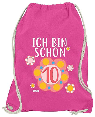 Hariz - Bolsa de deporte con texto en alemán 'Ich Bin Schon Zehn Blum', color rosa, tamaño talla única
