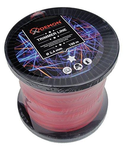 Fil de coupe professionnel pour débroussailleuse - 100 m - 5 pans - 2,4 mm - Fil de rechange pour tête de fil