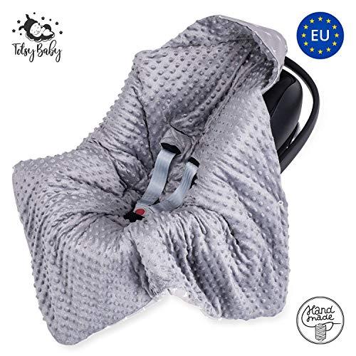 Couverture enveloppante bébé nid d ange siège auto - couverture poussette Hiver couverture Siege Auto bebe en Minky gris avec des étoiles