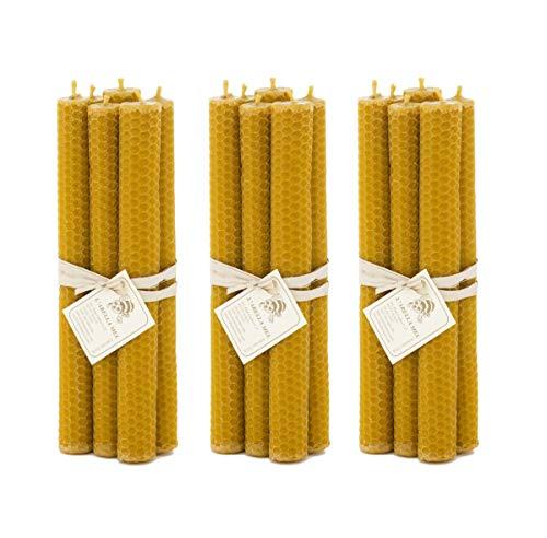 L 'Abella 100% 3x 6de Cera de Abejas Velas de España–Producto Natural–Directamente Desde el Apicultor––Aroma de Miel en Mano–Velas con Cada uno de Aproximadamente 20cm x 2cm