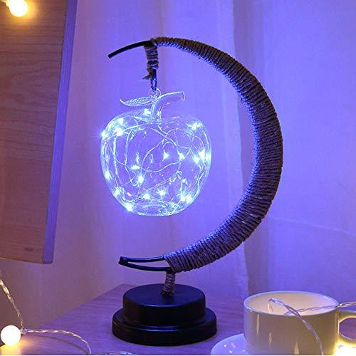 Nachtlampjes LED decoratieve verlichting handgemaakte henneptouw koperen lamp glas modelleerlamp romantische kerstmis smeedijzeren USB nachtlampje tafellampje geschenk voor vrouwen mannen jongeren Ki