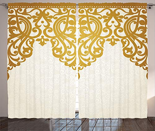 """Ambesonne Antique Curtains, Victorian Style Medieval Motifs with Classic Baroque Oriental Shapes Print, Living Room Bedroom Window Drapes 2 Panel Set, 108"""" X 90"""", Golden Cream"""