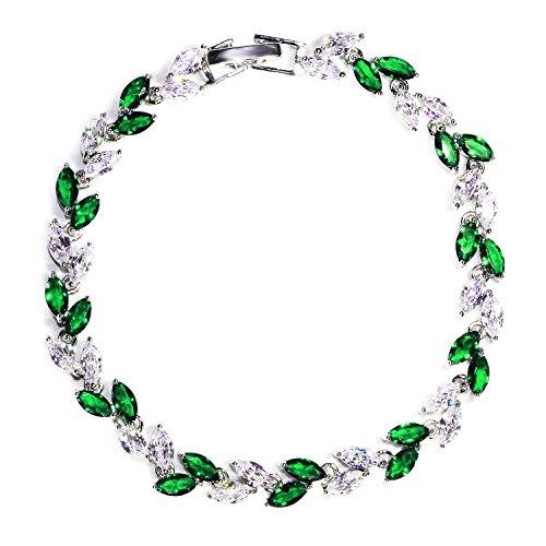 Green Emerald Crystal Tennis Bracelets for Women Diamond Gemstone Zircon Bracelets with Swarovski Crystals