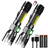 Rechargeable UV Flashlight, Gearmatte Magnetic Blacklight 3 in 1, 18650 Battery Side Work Light, Zoomable, Water Resistant LED Torch for Pet Urine Stains Detection Mechanics, Pack of 2