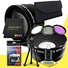 DavisMAX 77mm Wide Angle + 2X Telephoto Lenses + 3 Piece Filter Kit for Sony Alpha SLT-A37 with Sony 24-70 f/2.8 Carl Zeiss Lens Fibercloth Deluxe Lens Bundle