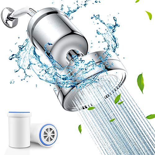 Shower Head with Filter, PECHAM High Output Filtered Shower Head Water Filter Set 17 Stage Shower Filter for Hard Water Removes Chlorine and Other Sediments With 2 Filter Cartridge…