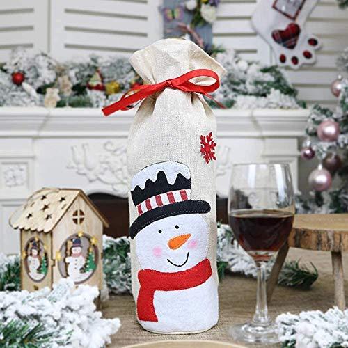 Cfxqvw Tapa de Botella de Vino Tinto de Navidad Hombre Viejo muñeco de Nieve Bolsa de Vino Suministros de Navidad para el hogar decoración Botella de muñeco de Nieve de Yute para Regalos Familiares