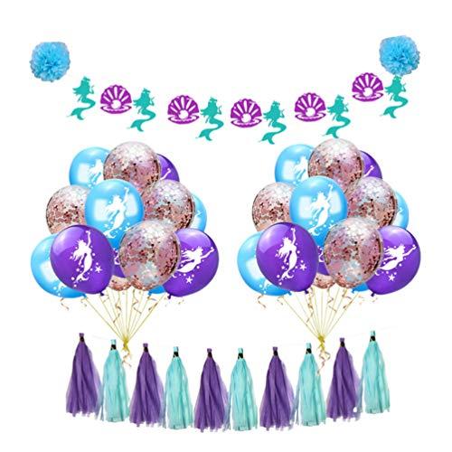 Amosfun Mermaid Balloons Birthday Party Decorations Birthday Banner Tassel Garland Banner Mermaid Party Supplies Birthday Decor