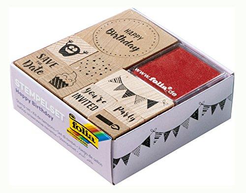 folia 31104 - Holzstempelset Happy Birthday, inklusive 9 Holzstempel und 2 Stempelkissen - ideal zum Verzieren von Karten, Freundschaftsbüchern, für Lettering und Scrapbooking