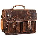 STILORD 'Jeffrey' Lehrertasche Aktentasche Leder Große Vintage Ledertasche zum Umhängen 15.6 Zoll Laptop Tasche für Schule Uni Business Trolley Aufsteckbar, Farbe:Sepia - braun