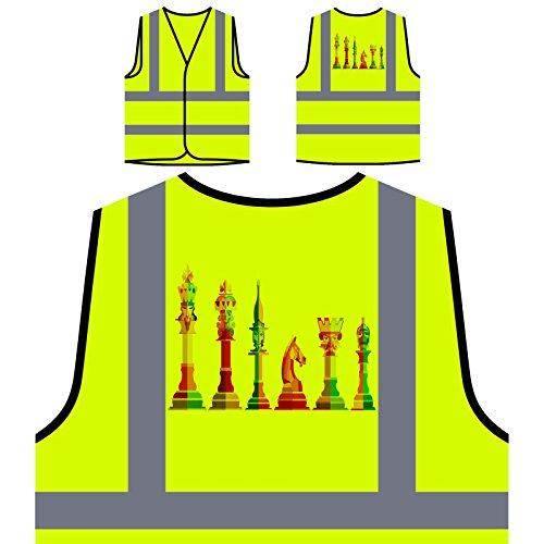 Schachfigur Art Personalisierte High Visibility Gelbe Sicherheitsjacke Weste v538v