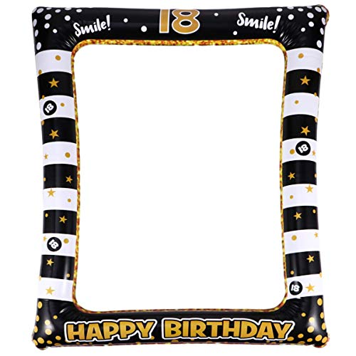 Amosfun Aufblasbarer Bilderrahmen zum 18. Geburtstag, lustige Selfie-Requisiten für 18 Jahre alte Geburtstagsparty-Dekoration